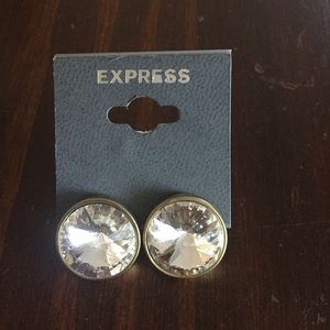 Express Crystal Gems and Gold Post Back Earrings